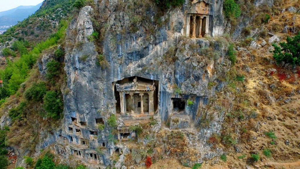 Fethiye . The Lycian rock tombs